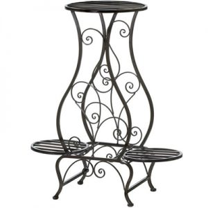 Swirled Iron Triple Plant Stand – Black