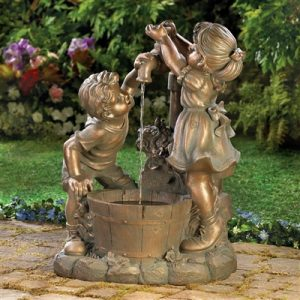 Playful Children at the Well Fountain
