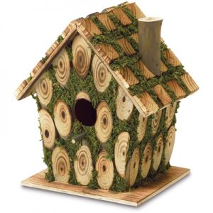 Knotty Wood Moss-Covered Bird House