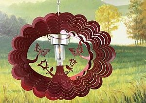 12″ Solar Light Butterfly 3D Wind Spinner – Red Starlight