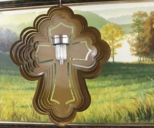 16″ Solar Light Cross Wind Spinner – Copper Starlight (Includes Solar Light)