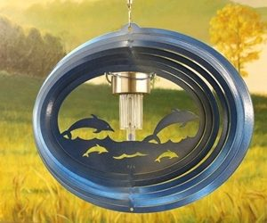 12″ Solar Light Dolphin Wind Spinner – Blue Starlight