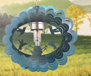 12″ Solar Light Hummingbirds Wind Spinner – Teal Starlight (Includes Solar Light)
