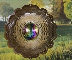 12″ Gazing Ball Wind Spinner – Copper Starlight (Includes Gazing Ball)