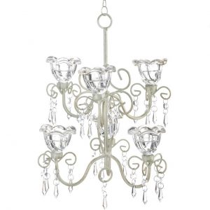 Distressed Ivory Tiered Candle Chandelier