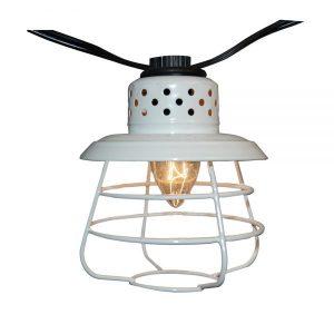 Plug-in Café String Lights – White Metal 10L