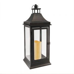 Metal Lantern w/LED Candle – Tall Classic – Matte Black
