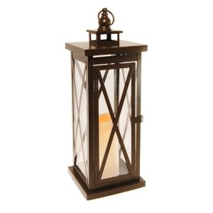 Metal Lantern w/LED Candle – Warm Black CrissCross