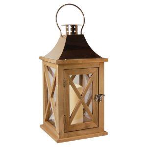 Wooden Lantern/LED – Natural/Copper 1ct