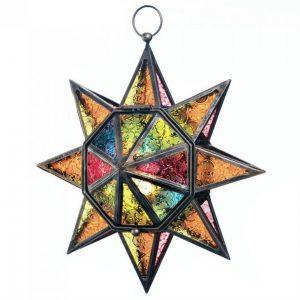 Pressed Glass Multi-Colored Star Candle Lantern
