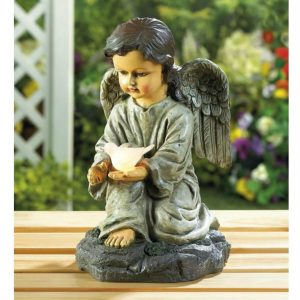 Angel with Dove Solar Garden Light
