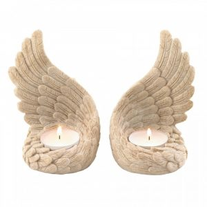 Stone-Look Angel Wings Tealight Candle Holder Set