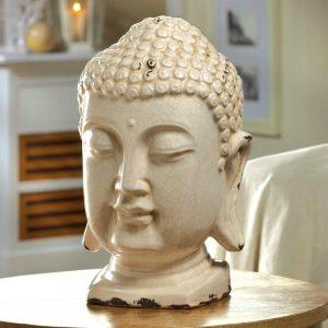 Buddha Head Table Top Ceramic Art Piece