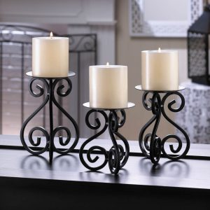 Scrolled Metal Candle Stand Set