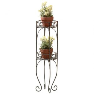 Scrolled Verdigris Two-Level Plant Stand