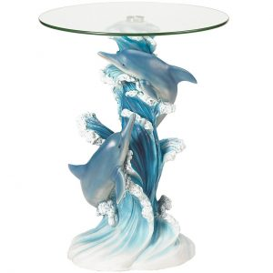 Dolphins Glass-Top Accent Table