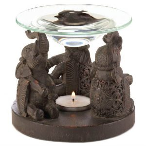 Carved-Look Three Elephants Oil Warmer