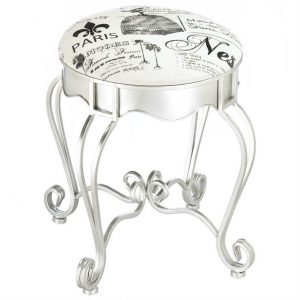 Paris Cushioned Stool with Silver Frame