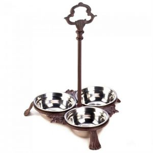 Cast Iron Pet Bowl Set with Handle