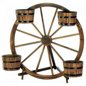 Wood Wagon Wheel Plant Display