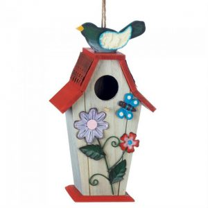 Country Flowers Wood Bird House with Butterfly
