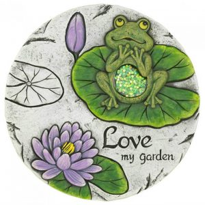 Frog and Lily Pad Love My Garden Cement Stepping Stone