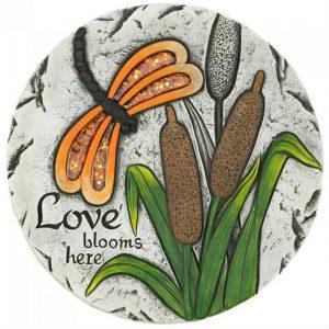 Orange Dragonfly Love Blooms Here Cement Garden Stepping Stone
