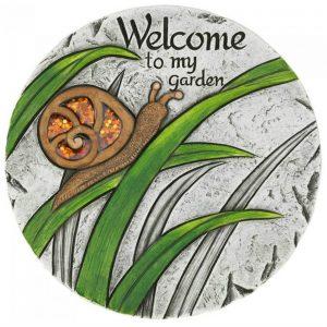 Welcome to My Garden Snail Cement Garden Stepping Stone
