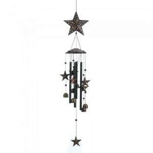 Bronze Wind Chimes with Stars and Bells – 34 inches