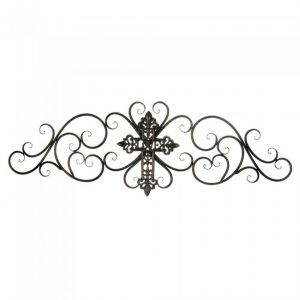 Scrolled Iron Wall Plaque with Cross