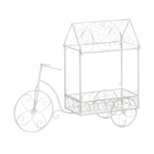White Iron Tricycle Plant Cart