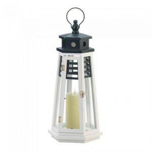 Navy Blue and White Wood Lighthouse Candle Lantern – 19 inches