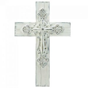 Ornate Rustic Whitewashed Wall Cross