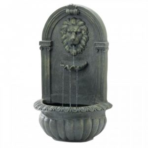 Regal Lion's Head Stone-Look Wall Fountain – Mossy Green