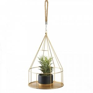 Round Metal Hanging Plant Holder with Rope