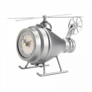 Vintage-Look Desk Clock – Silver Helicopter