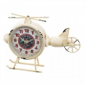 Vintage-Look Desk Clock – White Helicopter