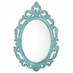 Baby Blue Royal Crown Wood Wall Mirror