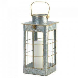 Farmhouse Galvanized Metal Candle Lantern – 17 inches