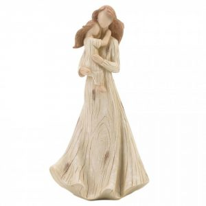 Mother and Daughter Carved-Look Figurine
