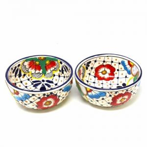 HALF MOON BOWLS – DOTS AND FLOWERS, SET OF TWO – ENCANTADA