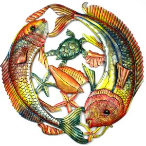 24 INCH PAINTED TWO FISH JUMPING – CROIX DES BOUQUETS