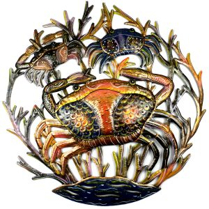 24-INCH PAINTED CRABS METAL WALL ART – CROIX DES BOUQUETS