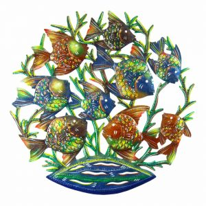 24-INCH PAINTED SCHOOL OF FISH METAL WALL ART – CROIX DES BOUQUETS