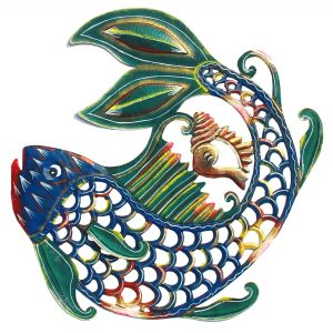 24 INCH PAINTED FISH & SHELL – CARIBBEAN CRAFT