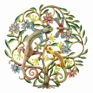 24 INCH PAINTED GECKO TREE OF LIFE – CROIX DES BOUQUETS