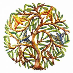 24 INCH PAINTED TREE WITH BIRDS – CROIX DES BOUQUETS