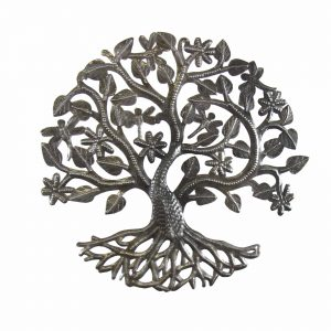 14 INCH TREE OF LIFE DRAGONFLY METAL WALL ART – CROIX DES BOUQUETS