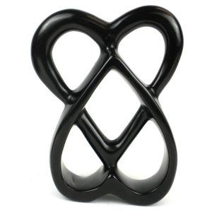 HANDCRAFTED 8-INCH SOAPSTONE CONNECTED HEARTS SCULPTURE IN BLACK – SMOLART