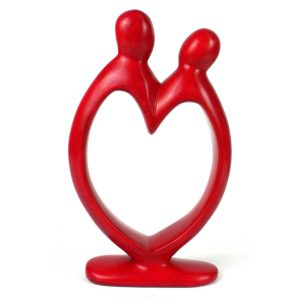 HANDCRAFTED SOAPSTONE LOVER'S HEART SCULPTURE IN RED – SMOLART